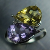 Natural Yellow Citrine & Purple Amethy..