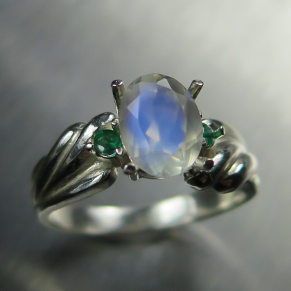 Natural rainbow Moonstone & emeralds 925 sterling silver ring