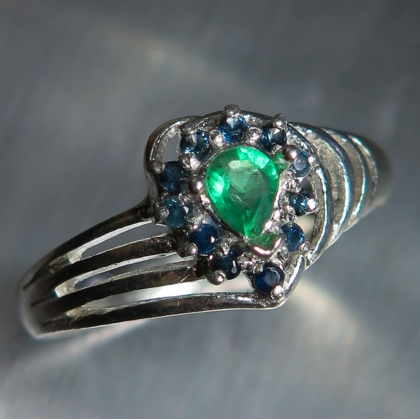 Natural Colombian Emeralds & sapphires Sterling 925 Silver ring
