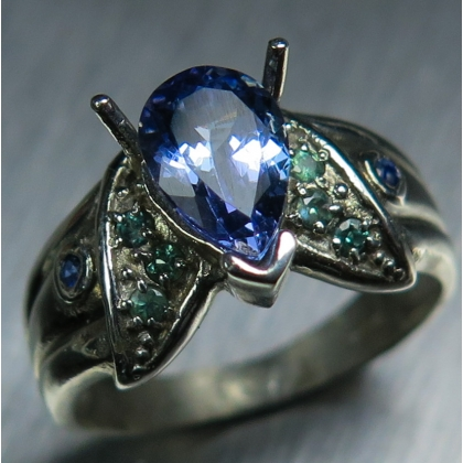 Natural tanzanite &Alexandrite, sapphire Silver / Gold ring