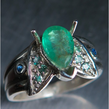 Natural Colombian Emerald &Alexandrite, sapphire Silver / Gold ring