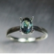 0.61ct Natural colour change Alexandrite 6.15x4.27mm 18ct gold ring