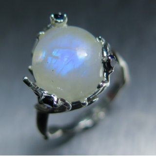 5.40cts Natural Rainbow Moonstone Silv..