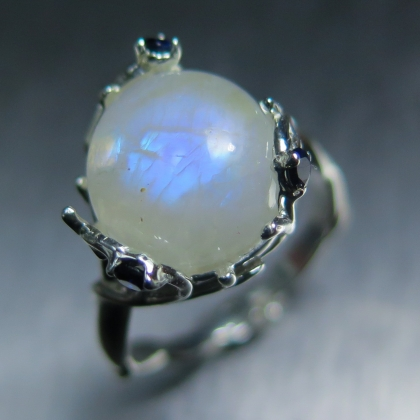 5.40cts Natural Rainbow Moonstone Silver / 9ct 14k 18k Gold ring