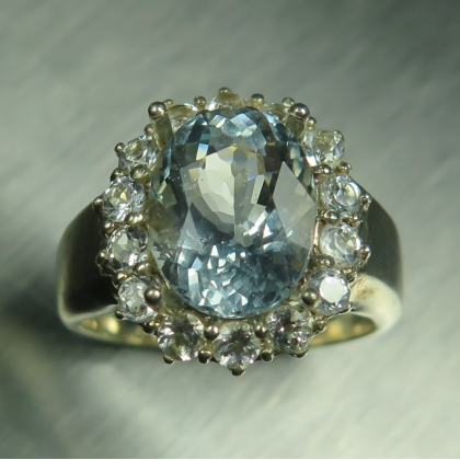3.60ct Natural Aquamarine & topaz Sterling 925 Silver ring