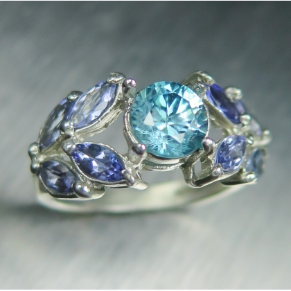 Natural Paraiba blue Zircon Silver/9ct 14k 18k Gold tiara crown ring