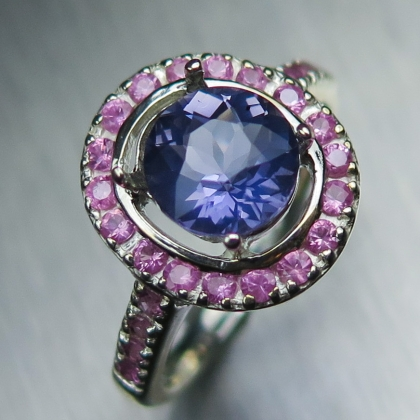 Natural Iolite & sapphires Silver / Gold engagement ring