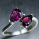Natural rhodolite garnet Silver / 9ct 14k 18k Gold / Platinum ring