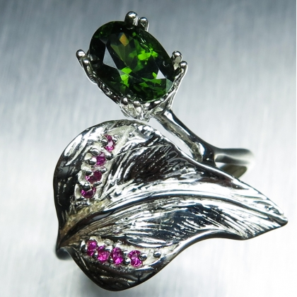 1.60ct Natural Green Zircon & ruby Silver / Gold / Platinum ring