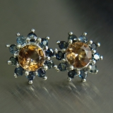 Natural Imperial topaz &sapphire Silve..