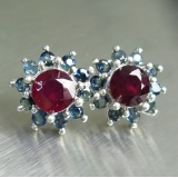 Natural Red ruby &sapphire Silver/ Gol..