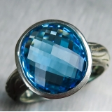 6.4ct Natural Swiss blue Topaz Silver/..