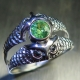 0.45ct Natural Demantoid garnet Silver Gold Platinum unisex owl ring