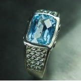 Natural Aquamarine checker board Silve..