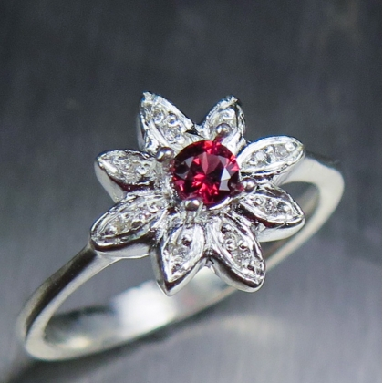 0.15ct Natural Red Spinel & diamond Silver/ Gold / Platinum ring