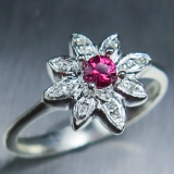 0.15ct Natural Red Spinel & diamond Si..