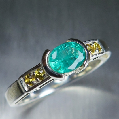 Natural Colombian Emerald Silver/ Gold / Platinum east west ring