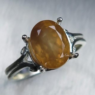 Natural Honey orange Zircon Silver/ Go..