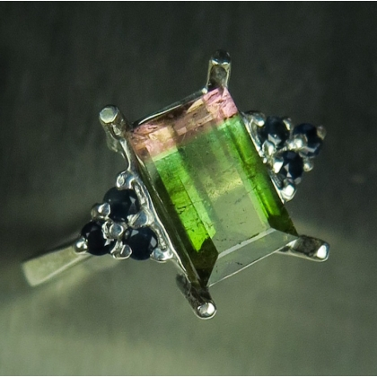 Natural Watermelon Bi-colour tourmaline Silver / Gold / Platinum ring