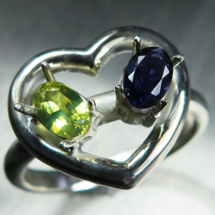 Natural Chrysoberyl & Iolite Silver/ Gold / Platinum heart ring