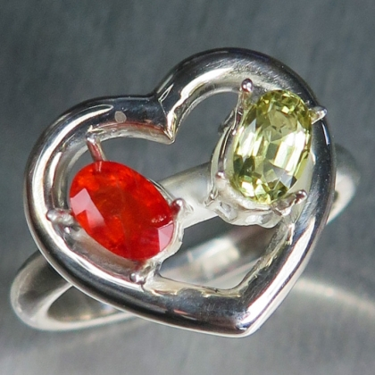 Natural Red sapphire& Chrysoberyl Silver/ Gold / Platinum heart ring