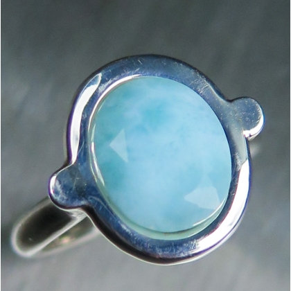3.5ct Natural Blue Larimar Silver/ 9ct 14k 18k Gold / Platinum ring