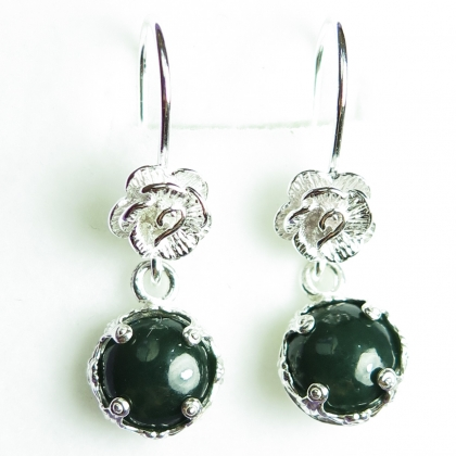 4ct Natural Very Dark Green Jade Sterling 925 silver drop earrings