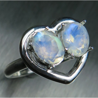 Natural rainbow moonstone Silver/ Gold /Water heart engagement ring