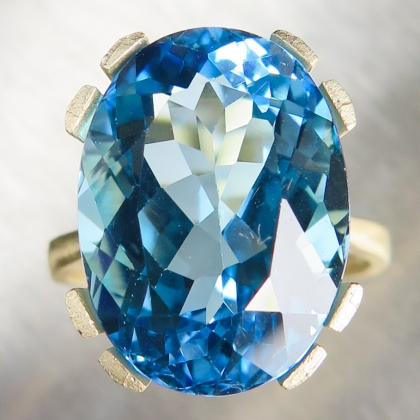 16.10ct Natural Swiss blue topaz 9ct 375 yellow gold engagement ring