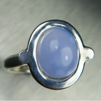 Lavender blue chalcedony Silver/ 9ct 14k 18k Gold /Platinum ring