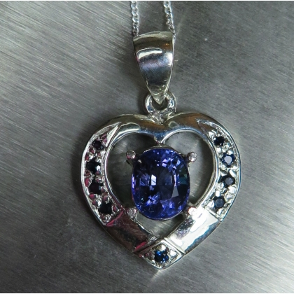 1.6ct Natural Purple Blue Tanzanite SILVER/GOLD heart necklace pendant