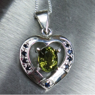 Natural Olive green Tourmaline Silver/..