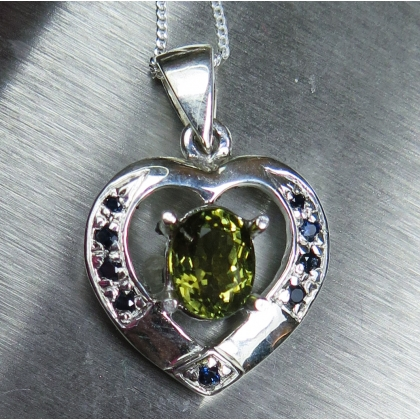 Natural Olive green Tourmaline Silver/Gold heart necklace pendant