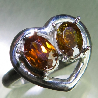 Natural Sphalerite Silver/ Gold /heart engagement ring