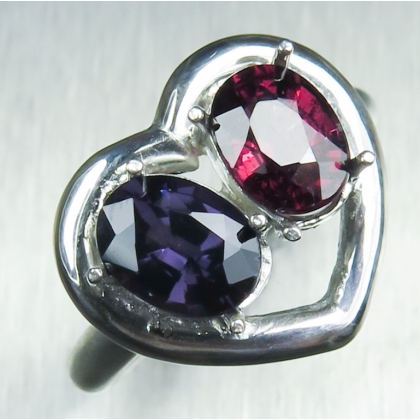 Natural spinel & rhodolite garnet Silver/ Gold /heart engagement ring