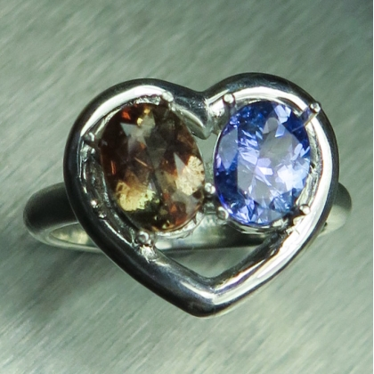 Natural Andalusite & tanzanite Silver/ Gold /heart engagement ring