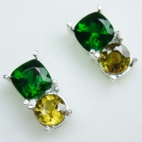 Natural Chrome Diopside & sphene Silve..