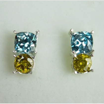 Natural Bule Zircon & sphene Silver / gold / Platinum earrings