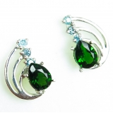 Natural Chrome Diopside & zircons Silv..