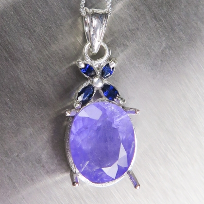 4.75ct Natural Purple Apatite &sapphires Silver/Gold necklace pendant