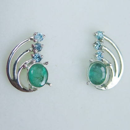 Natural Colombian Emerald & zircons Silver / gold / Platinum earrings
