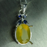 Natural honey yellow fire opal Silver/..