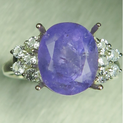 Natural purple violet Apatite &topaz 925 Silver / Gold / Platinum ring