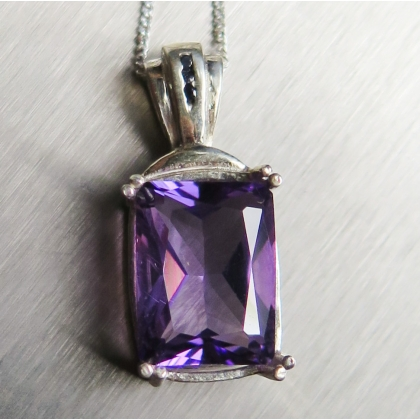 4.45ct Natural Amethyst Silver/ Gold/ Platinum necklace pendant