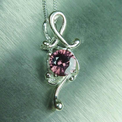 Natural Antique rose purple Zircon Silver/ Gold/ Platinum pendant
