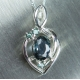 Natural blue grey Sapphire Silver/ Gold/ Platinum pendant