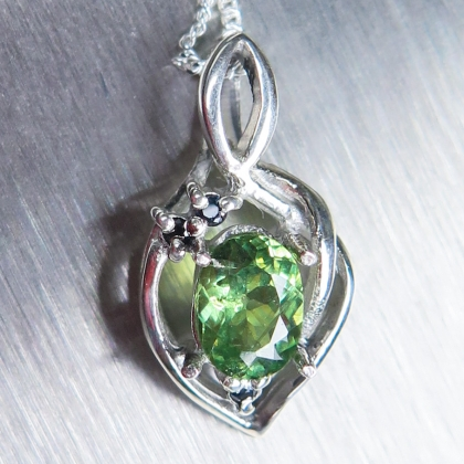Natural demantoid garnet & sapphire Silver/ Gold/ Platinum pendant