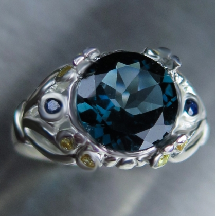 Natural London Blue Topaz & sapphires Silver/ Gold/ Platinum ring