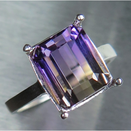 Natural Bi-colour Ametrine Silver/ Gold / Platinum solitaire ring