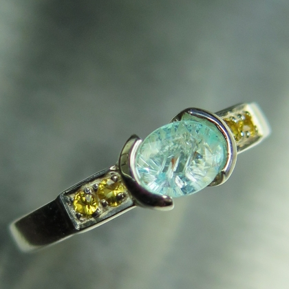 0.5ct Natural paraiba blue tourmaline Silver/ Gold / Platinum ring